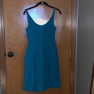 Madewell pleated teal dress with twist straps